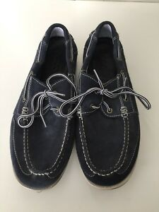 Ecco Suede Blue Moccasin Men Shoes Size