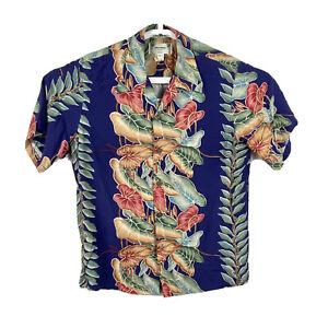 Kamehameha Vintage 60s Herren Medium Hawaii Knopfleiste Shirt Floral Aloha Baumwolle