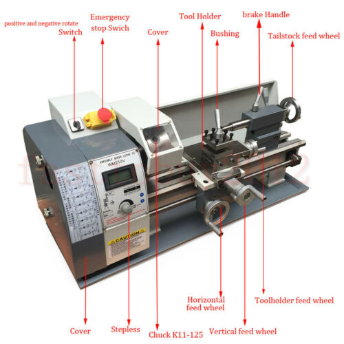 inch Stainless Steel Processing Upgrade 750W Mini Metal Lathe Bench Top Metric