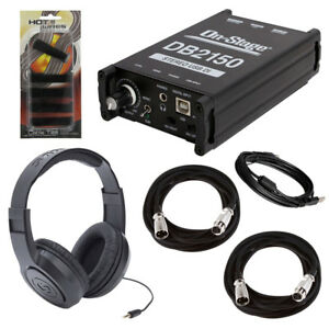 On-Stage-DB2150-Stereo-USB-DI-Box-Headphones-2-Mic-Cables-Cable-Ties-5-Pk