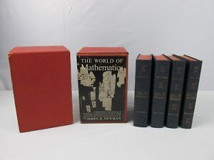 1956-The-World-of-Mathematics-by-James-R-Newman-4-Complete-Volumes-VERY-NICE
