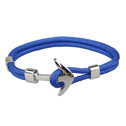 Handmade Men/'s Silver Alloy Anchor Polyester Rope Wristband Bracelet Jewelry