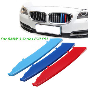M Color Kidney Grill Bar Decal Strip Cover Clip For BMW Series - Bmw m colored kidney grille stripe decals