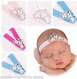 Details Zu Haarband Baby Krone Perlchen Strass Stirnband Taufe Fotoshooting Mädchen