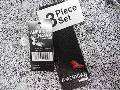 Toddler Boys American Hawk 3pc Black Red /& White Short Set Size 2T 4T