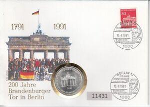 D-Numisbrief-Germany-10-DM-Silver-Brandenburg-Gate-1991