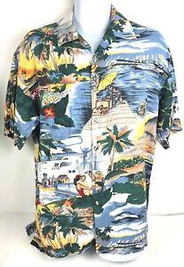 Mens-Caribbean-Hawaiian-Shirt-Large-Blue-Cream-Tropical-Palm-Trees-Women-Hut-Jet