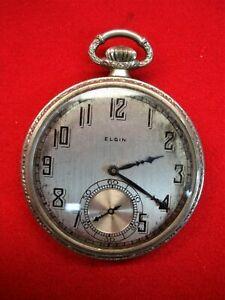 VINTAGE-ELGIN-OPEN-FACE-POCKET-WATCH-STEAM-LOCO-ON-BACK-PARTS-OR-REPAIR-WATCH