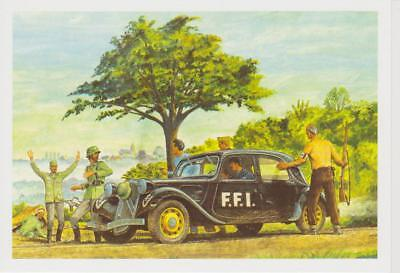 DESSIN CITROEN TRACTION F.F.I CPM 10X15 CM EDITION LIMITEE carte postale