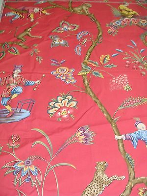 Scalamandre 16211 Chinoise Exotique-Tomato Designer Fabric Remnant Asian Animal