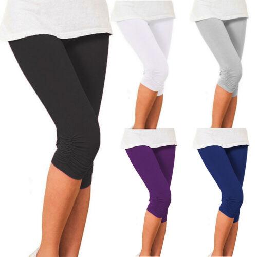 Ladies Womens Length Pants 3//4 Length Cropped Elastic Capri Leggings Trousers