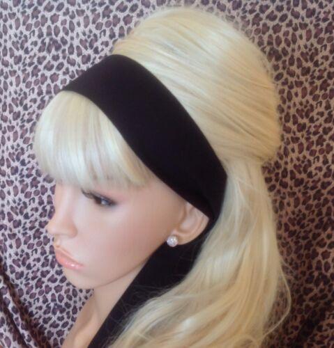 Plain Noir Tissu De Coton Tête Écharpe Cheveux Bande Self Tie Bow 50 s 60 s Style Rétro
