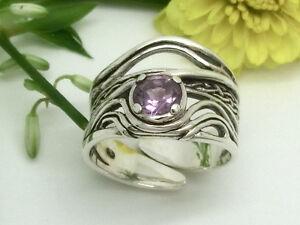 Breiter-Amethyst-925-Sterling-Silber-Ring-groessenverstellbar-Damenring-Damen