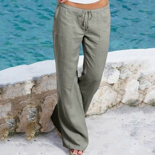Womens Drawstring Flared Wide Leg Pants Casual Loose Cotton Linen Long Trousers