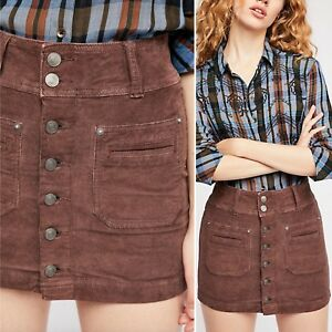 9576bbad5b NWT Free People Skirt Corduroy Brown Joanie Solid Cord Button Size ...