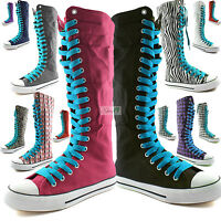 Woman Canvas Mid Calf Tall Boots Casual Sneaker Punk Flat Sky Blue Shoelace Shoe