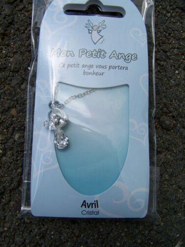 PENDENTIF ANGE COLLIER  CRISTAL AVEC CHAINE PIERRE CRISTAL AVRIL //APRIL