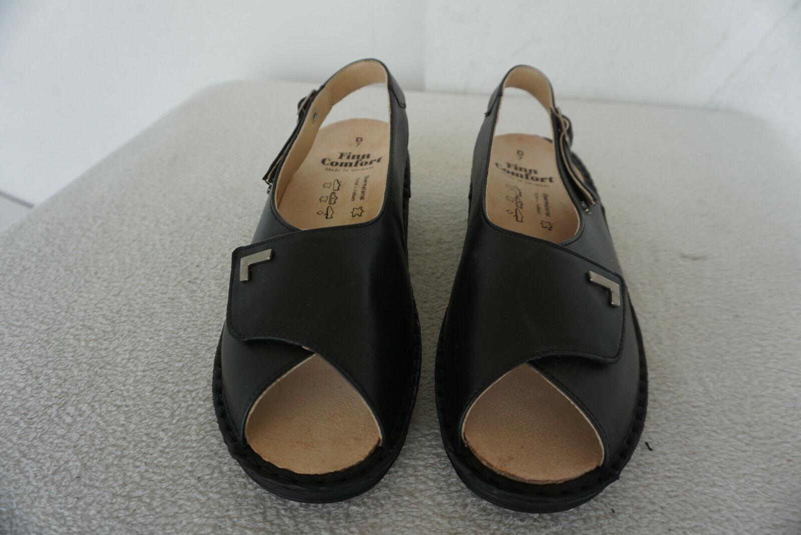 FINN COMFORT MADEIRA Sommer schuhe Sandale Einlagen Gr.7  40,5 Schwarz Leder NEU