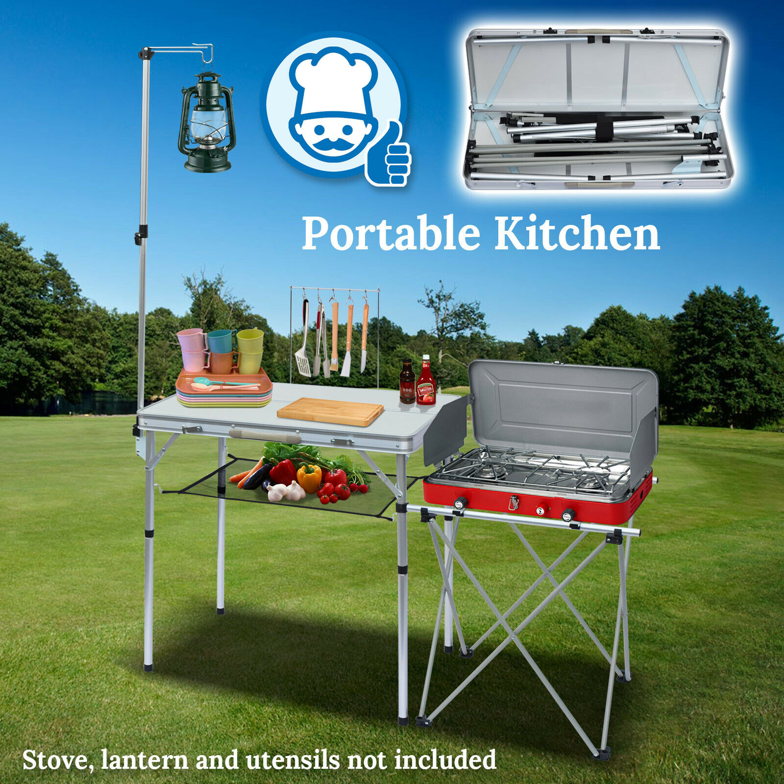 Outdoor Kitchen Cooking Table Camping Garden Portable Bbq Food Prep Grill Stand For Sale Online Ebay