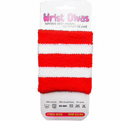 New Ladies Womens Fancy Dress Party Wrist Band Red White Stripes Hen Stag World Feine Verarbeitung
