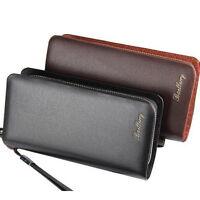 Men's Business Leather Clutch Bag Handbag Long Wallet Purse Zipper Card Holder