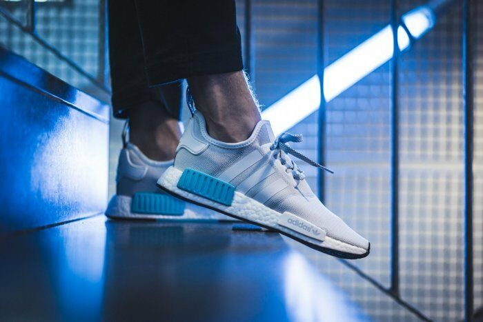 Adidas Originals NMD_R1 in blanc/Bright Cyan S31511 Sz 10-11.5-12