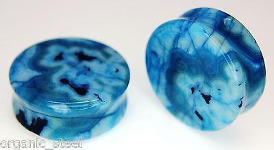 Blue Lace Agate Ear Plug Saddle Double flared stretcher gemstone 9 sizes 14/30