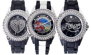 SEKONDA-Ladies-Watch-Silicone-Strap-Diamante-Stone-Fashion-WristWatch-Timepiece