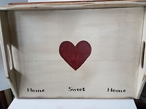 Primitive-Stove-Cover-Noodle-Board-Hand-Crafted-Cream-w-Heart-Home-Sweet-Home