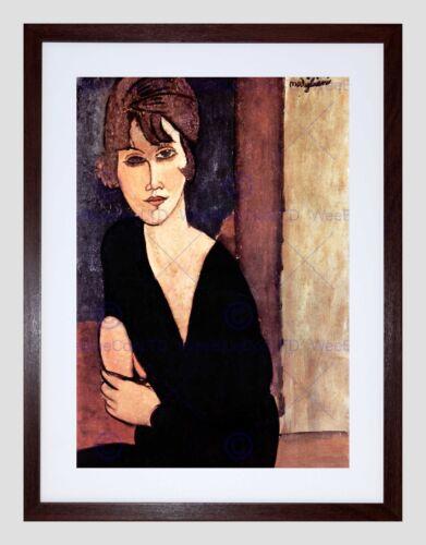AMEDEO MODIGLIANI PORTRAIT OF MADAME REYNOUARD BLACK FRAMED ART PRINT B12X1011