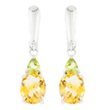 100/% NATURAL 10X8MM CITRINE /& APPLE PERIDOT RARE STERLING SILVER 925 EARRING