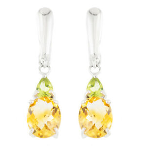 100-NATURAL-10X8MM-CITRINE-amp-APPLE-PERIDOT-RARE-STERLING-SILVER-925-EARRING