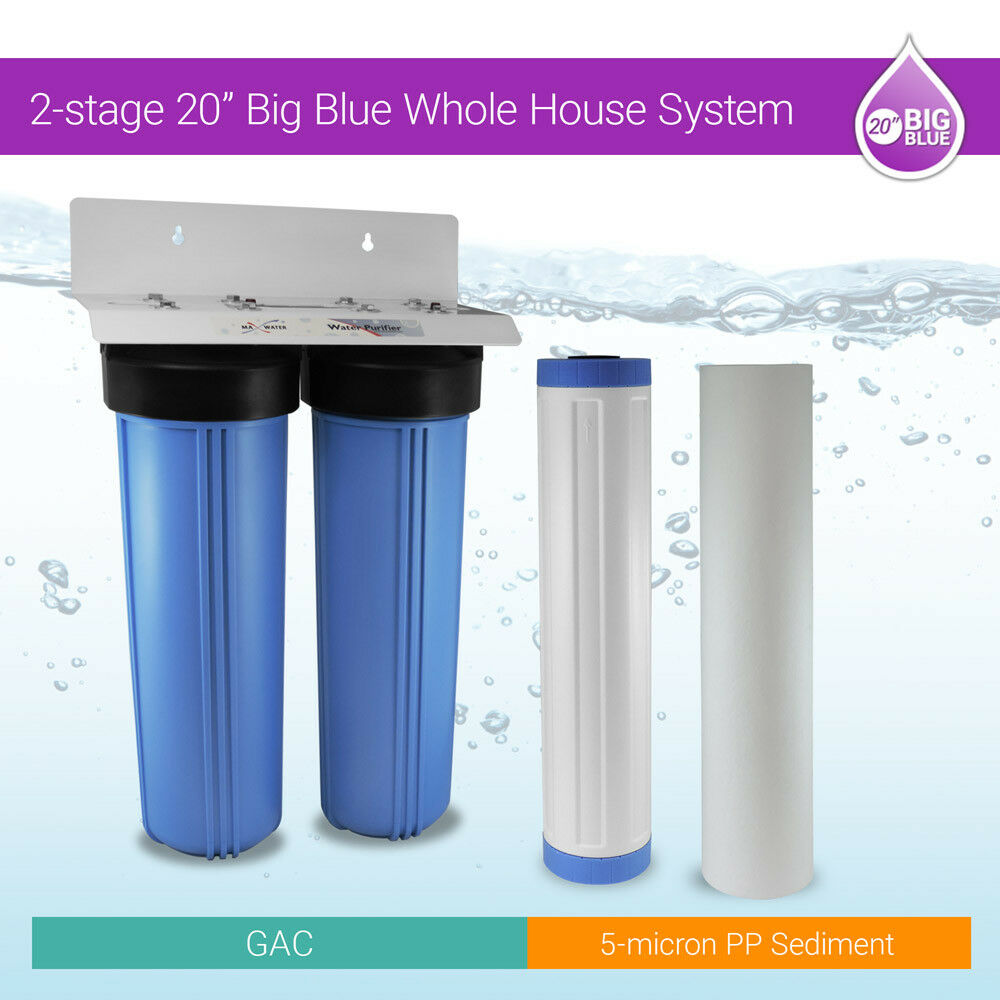 Big bluee 20 x4.5   Whole House Water Filter 2 stage System Double O Ring 1