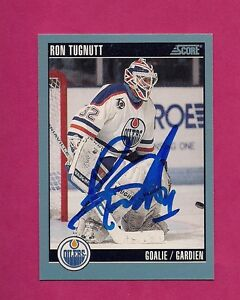 becbb86ee Image is loading RARE-OILERS-RON-TUGNUTT-GOALIE-AUTOGRAPH-CARD-INV-