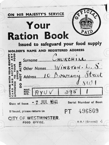 VINTAGE DOCUMENT WINSTON CHURCHILL RATION BOOK HISTORY WWII UK PRINT LV11282