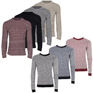 Mens-Designer-Drop-Stitch-Cable-Knitted-Long-Sleeve-Crew-Neck-Pullover-Jumper