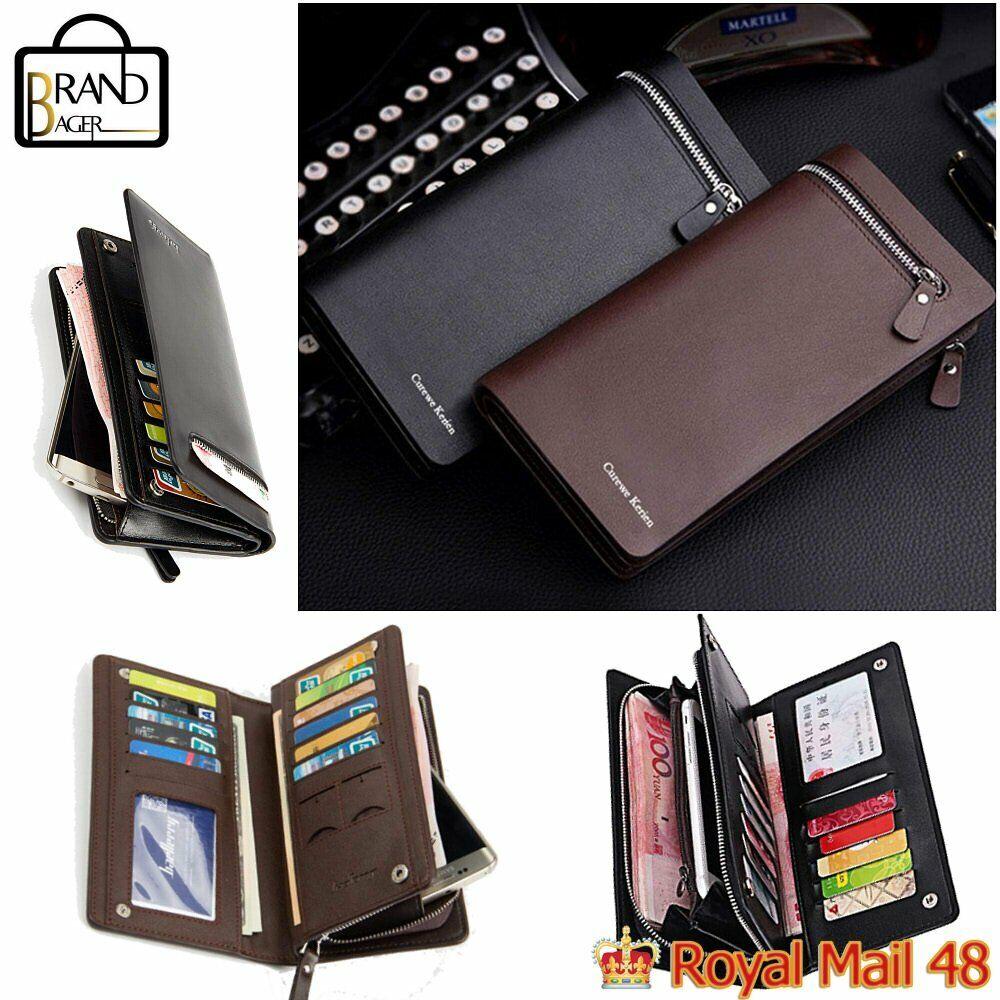 Men Women Black Wallet Leather Phone Clutch Purse Card Cash Coin Photo ID Holder