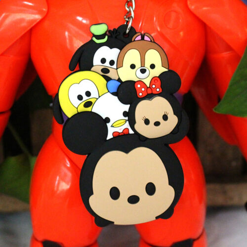 2pcs cute tsum tsum mickey silica gel key chain key chains  UL03 best gift new