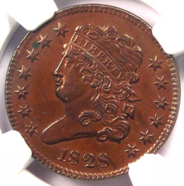1828 Classic Head Half Cent 1/2C - NGC Uncirculated Detail (UNC MS) - Rare Coin!