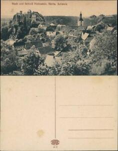 Ansichtskarte Hohnstein (Sächs. Schweiz) Panorama-Ansicht Stadt Schloß 1910