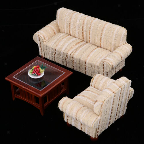 3Pcs 1//12 Dollhouse Miniature Furniture End Table Sofa Chair /& Fruit Tray