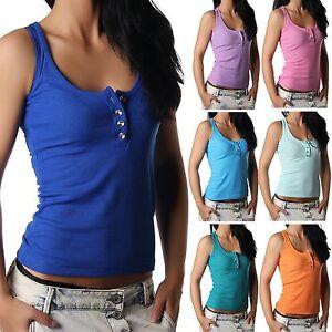 Damen-Traegertop-Top-Tanktop-Shirt-aermellos-Rippshirt-Knoepfe-viele-Farben-34-36