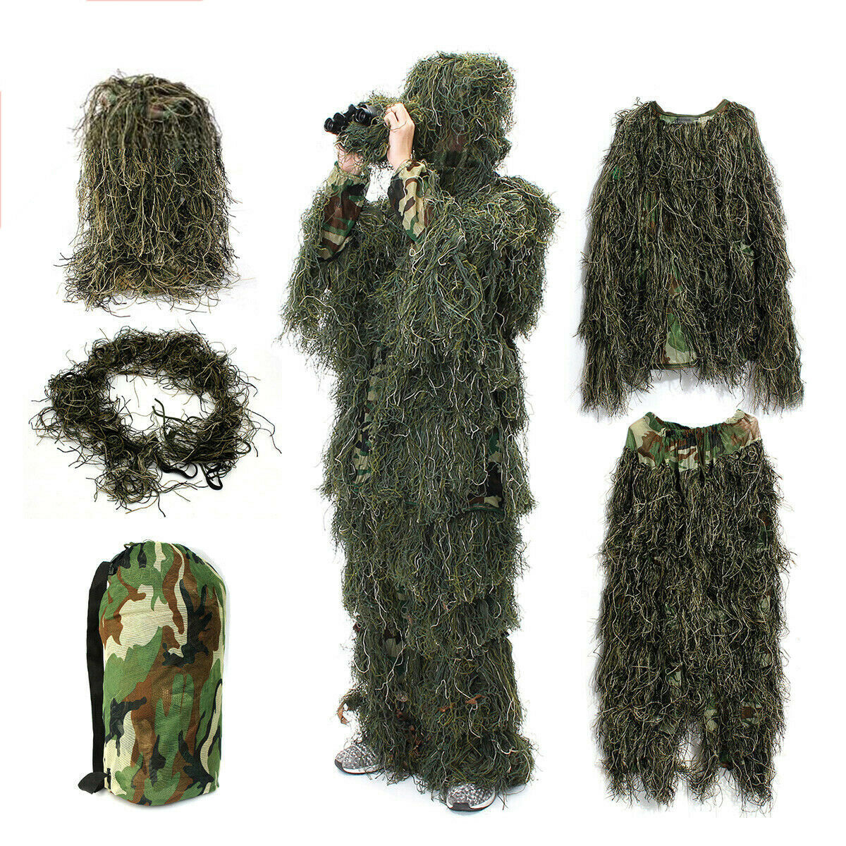 Kids Adult Woodland Camo Ghillie Suits 3D Sniper Jungle Forest  Hunting Hide Suit  discount