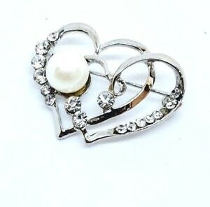 BROOCH-Heart-Faux-Pearl-amp-Rhinestones-Valentines-Brooch-Wedding-Mothers-Day-Gift