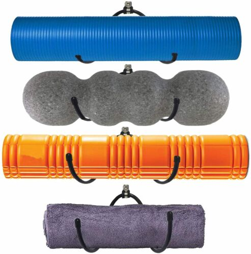 Wall Mount Yoga Mat Foam Roller /& Towel Rack Holder for Fitness Class Home Gym