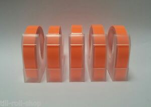5 Rolls Dymo Compatible 9mm Embossing Tape 3 metres per roll Red