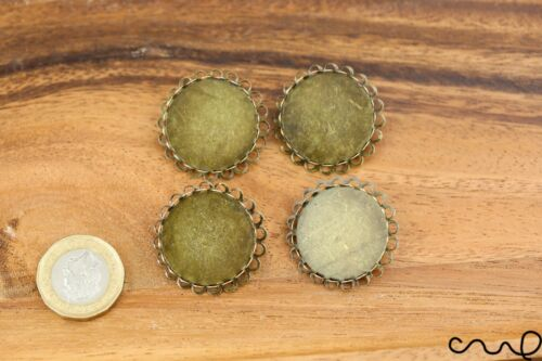 4 Scalloped Brooches Back Antique Bronze Brass Flat Round Cabochon Base Settings