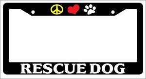 Chrome METAL License Plate Frame PEACE LOVE PAW RESCUE DOG Auto Accessory 543