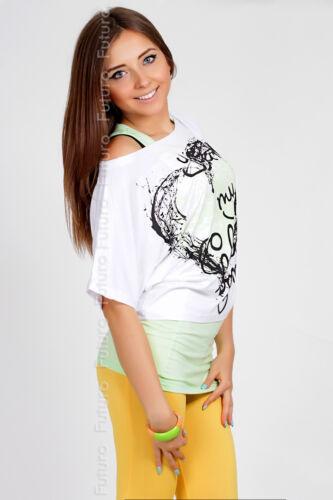 Vest Top FREE Size 8-12 5033 T-Shirt Party Kimono Multicolours Top Batwing