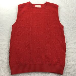 PENDLETON-Women-039-s-Size-Medium-Sweater-Vest-Red-Cable-Knit-Virgin-Wool-USA-Made